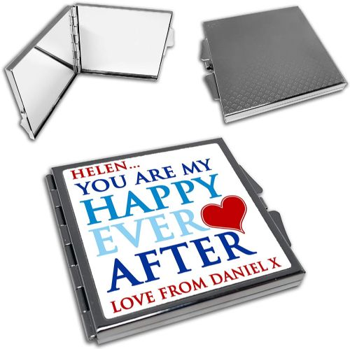 Personalised You are My Happy Ever After Cute Square Compact Mirror